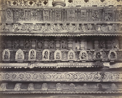 Views in Mysore. Bailoor Temple [Chennakeshava Temple, Belur]. Carvings in detail on east side 212613